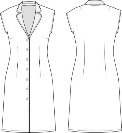 402 Line drawing Sewing pattern dress