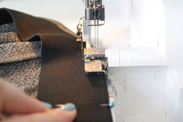 sewing elastic to the skirt waist