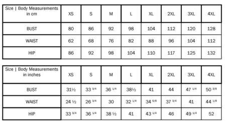 MariaDenmark Size chart xs-4xl