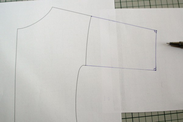 The finished pattern piece, lengthening the sleeves